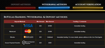 Bovegas Casino Deposit Methods