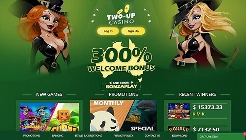 Two-Up Casino Welcome Bonus
