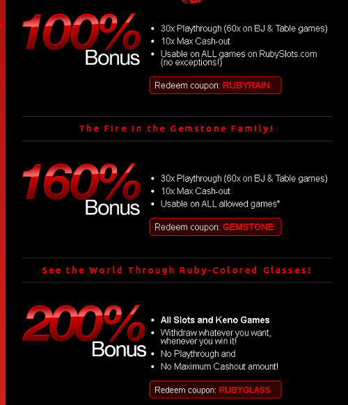 ruby slots bonuses and promotions
