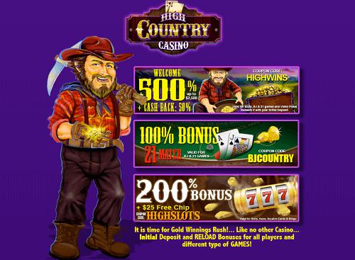 Claim High Country Casino Bonuses